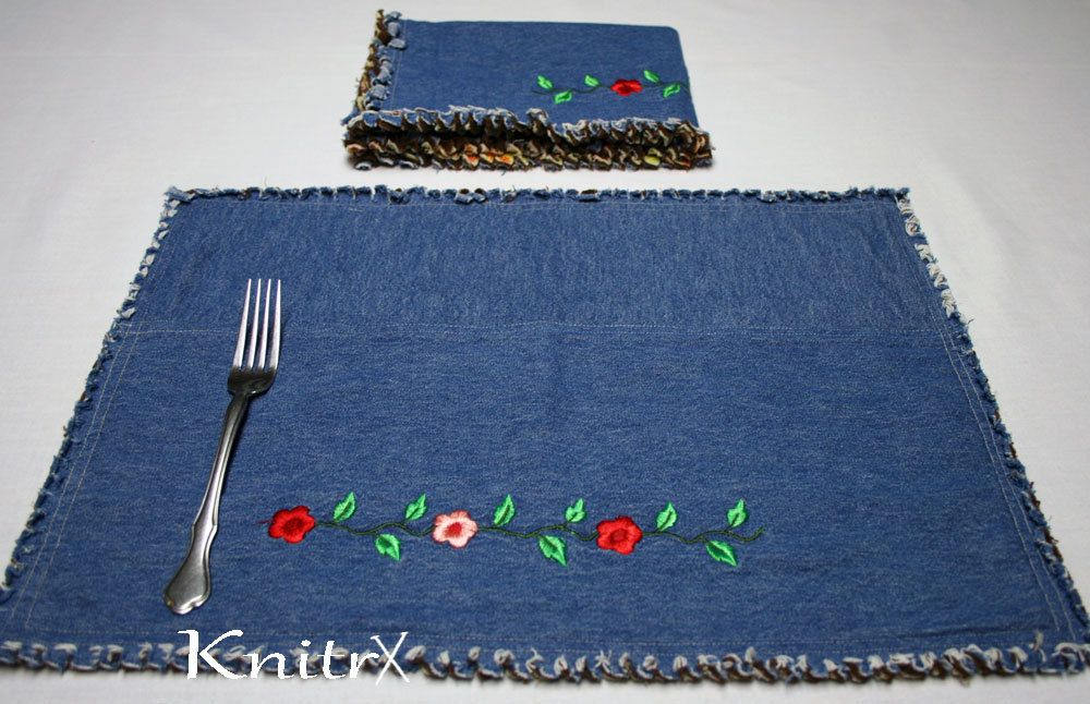 Denim Placemats Kitchen Placemats Blue Jean Mats Flannel ...