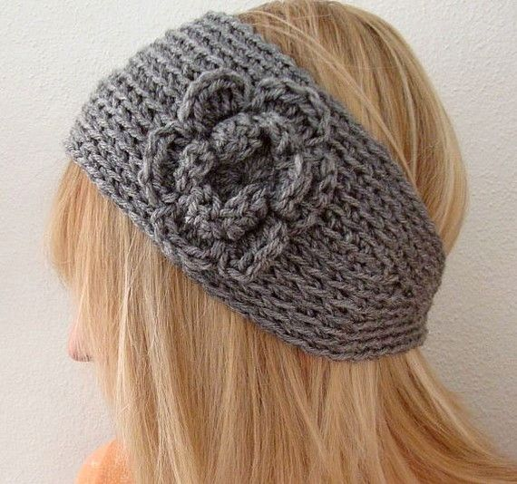Crochet Wide Bohemian Head Warmer Gray