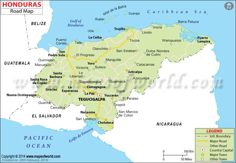 Honduras Road Map Honduras