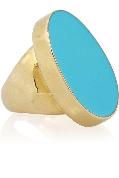 Kenneth Jay Lane 22 karat gold plated resin ring