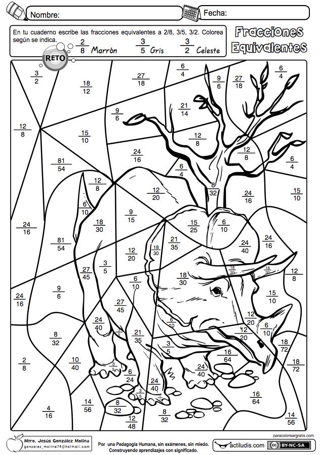 Fracciones equivalentes 02 | Printable | Pinterest | Escuela ...