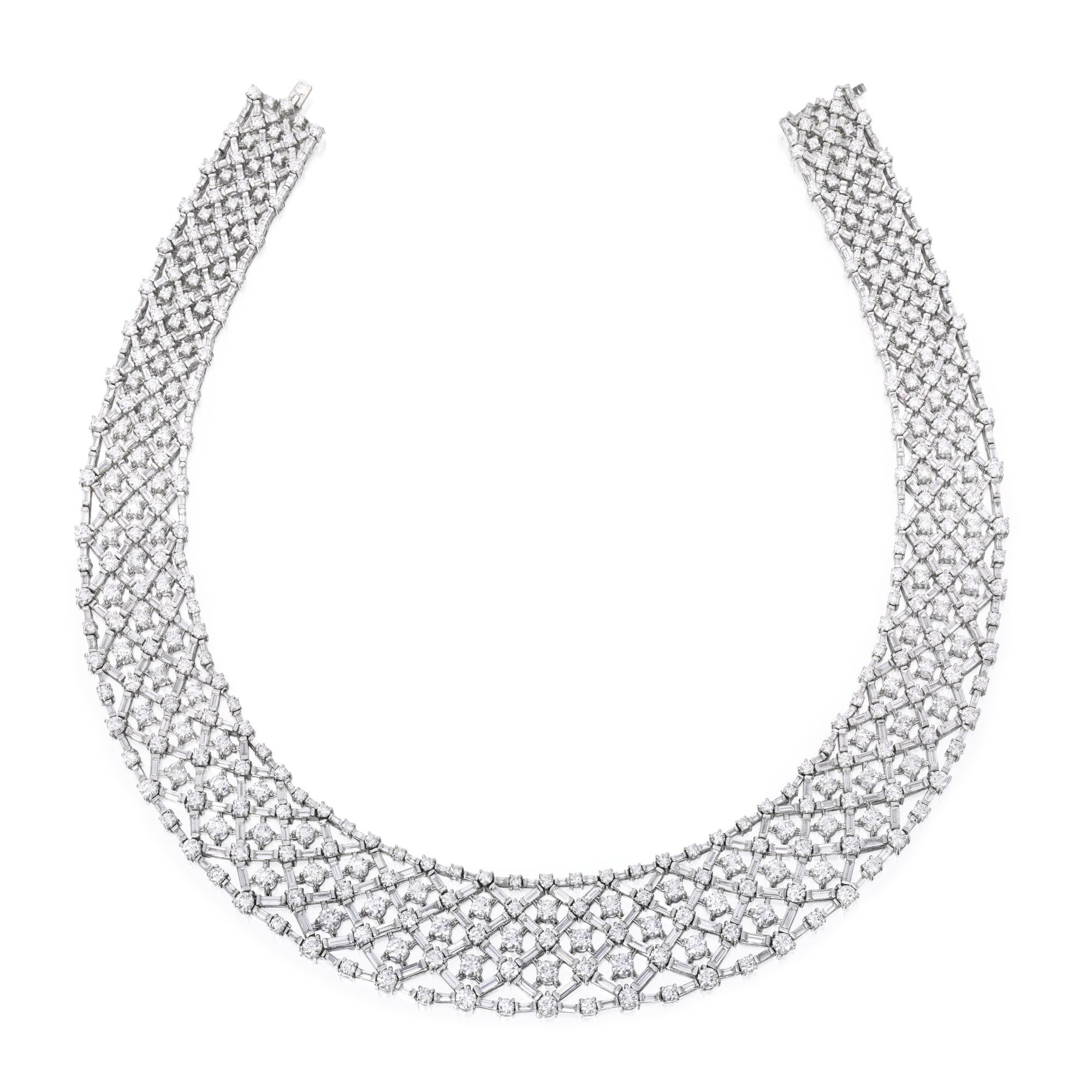 graff diamond collections diamonds a baguette featuring collection necklace snowfall cut brilliant and