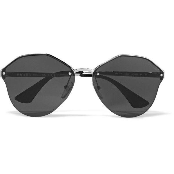 566b9c690bec Prada Round-frame silver-tone mirrored sunglasses ( 365) found on Polyvore  featuring women s fashion