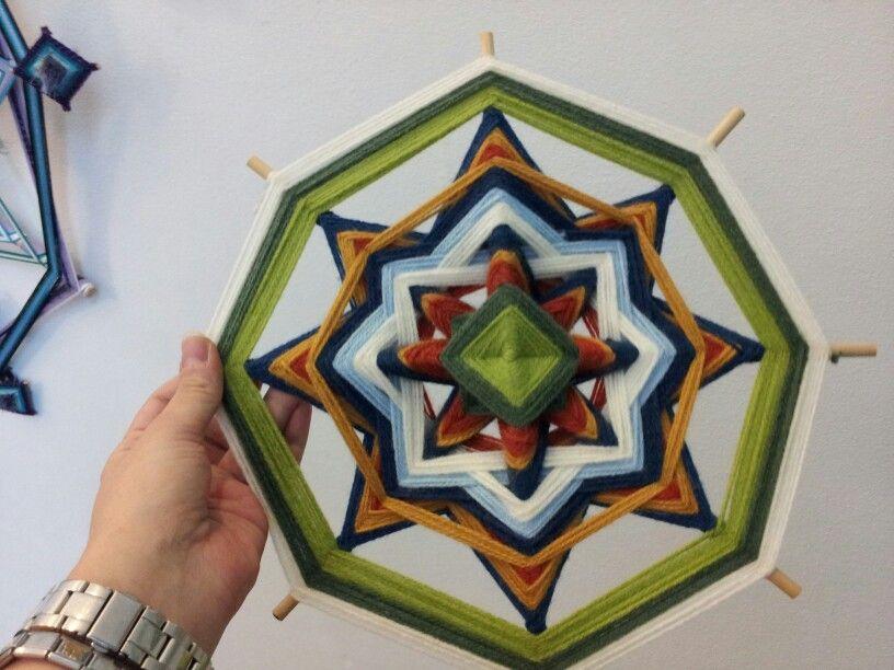 My first 8-sided woven mandala. Sylly's Art 2013