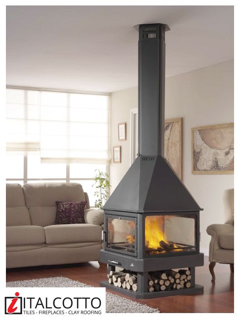 The Huelva 4 Sided Wood Burning Fireplace From Italcotto