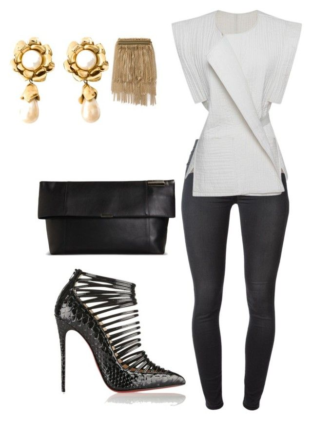 """""""Helia's style theory"""" by heliaamado on Polyvore featuring 7 For All Mankind, Isabel Marant, Victoria Beckham, Christian Louboutin, Chloé and Yves Saint Laurent"""