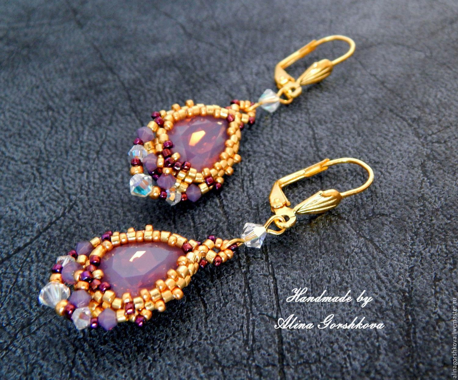 Right Angle Weave Earring Pattern Beaded Earring Tutorial