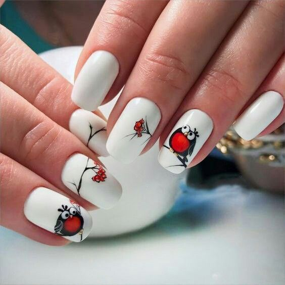 This Cute White Nail Art Design. A cute owl starring at the red cherries  will never catch a vision without this white background color. - Pin By Наталья Глушенко On Маникюр Pinterest