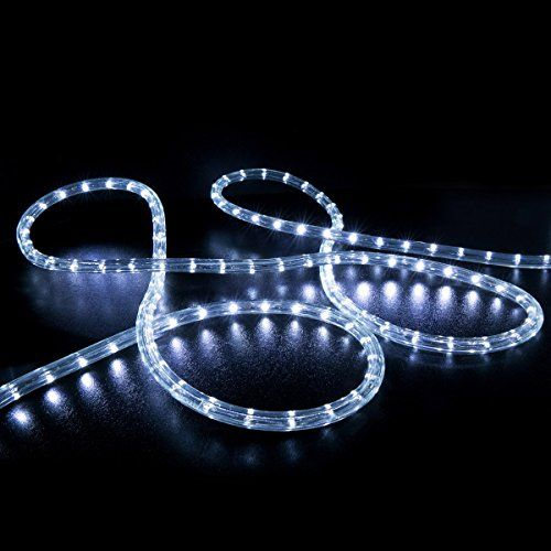 Wyzworks 50 Feet 12 Thick Cool White Preassembled Led Rope Lights With 10 25 100 150 Option Christmas Holiday Decoration With Images Led Rope Lights Led Rope Rope Lights