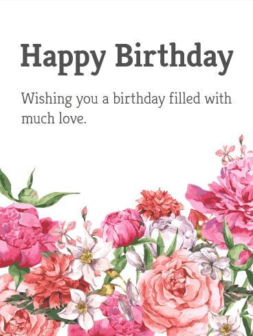 Garden Flower Happy Birthday Card Birthday Greeting Cards By