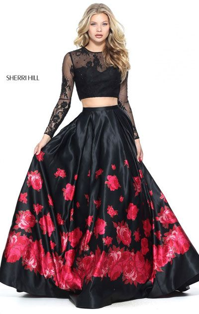 2017 Floral Printed Black/Red Lace Long Sleeves Two Piece Sherri Hill 51195  Long Satin Prom Dresses | Prom | Pinterest | Red lace, Prom and Satin