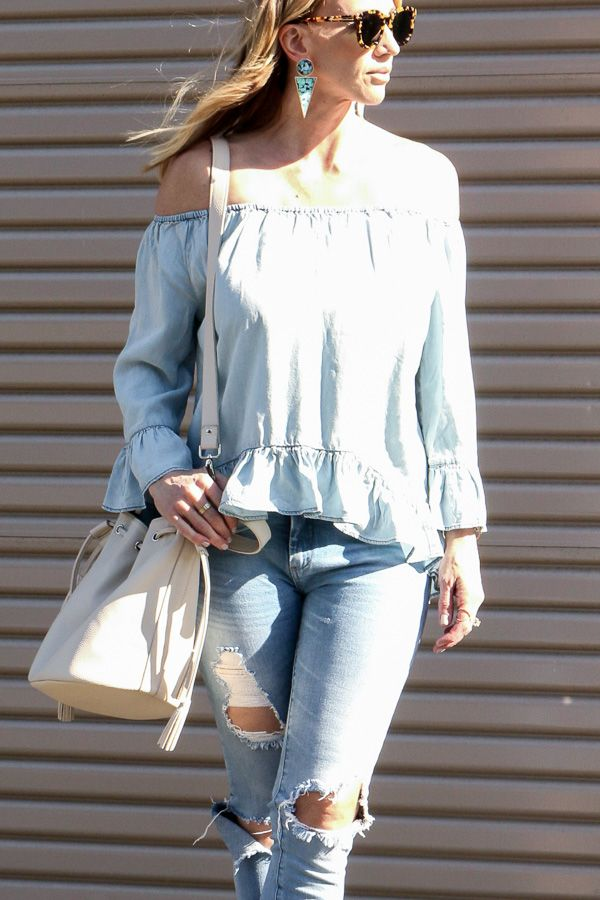 The Parlor Girl: ruffle off the shoulder top