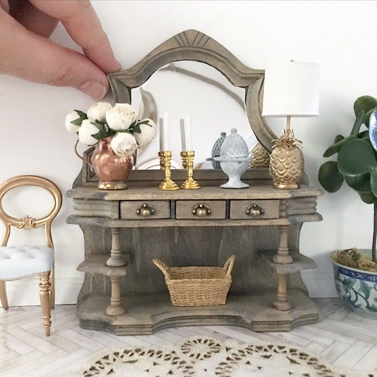 Miniature Rustic French Oak Sideboards With Antique Brass Drawer