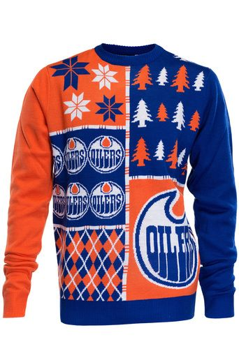 Edmonton Oilers Ugly Christmas Sweater NHL Busy Block Design