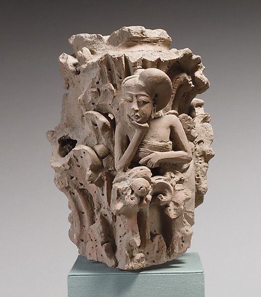 Column Surround with Pensive Woman  Eastern Javanese period,Majapaht  14th-15th century .Indonesia(Java)  Terracotta