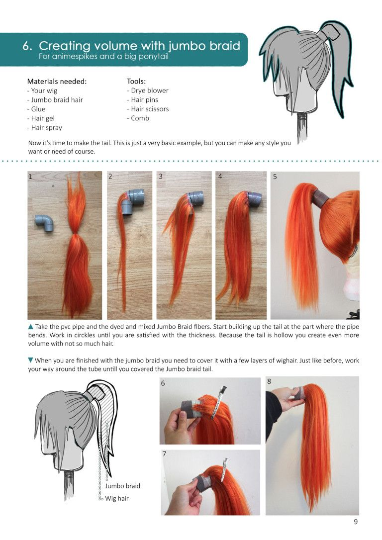 Detachable ponytail wig w/ extra volume (includes tutorial on how to make a custom wig head for sizing wigs)