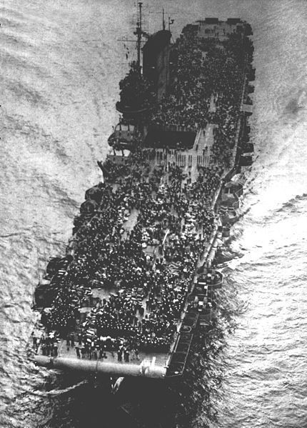 The U.S. Navy aircraft carrier USS Saratoga (CV-3) during her role as a troop…