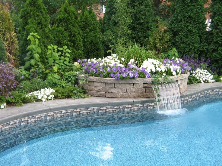 pool waterfall yard deco Pinterest Pool waterfall, Backyard