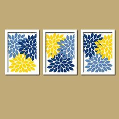 Yellow Navy Blue Wall Art Bedroom Pictures Canvas Or Prints Bathroom Artwork Flower Burst Dahlia Set Of 3