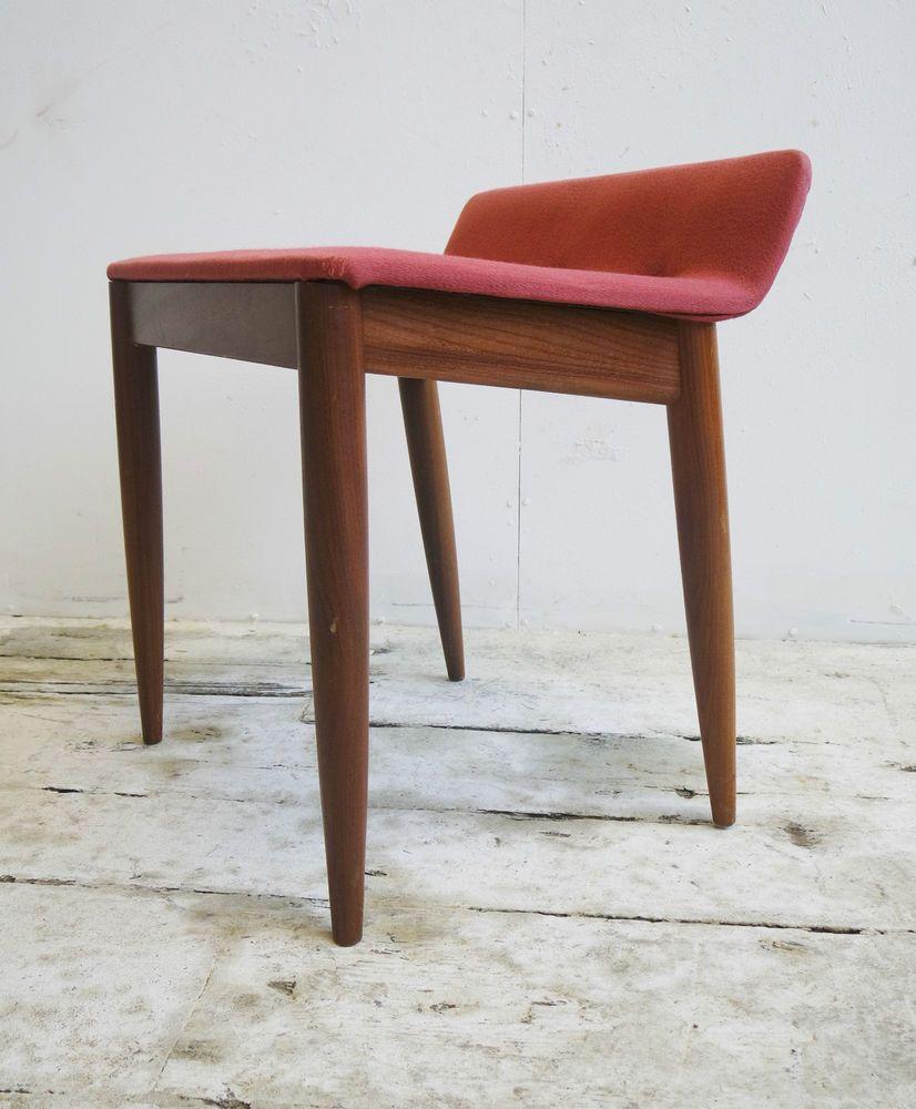 Vtg 60s 70s Retro Mid Century Modernist Danish Era Teak Stool ...