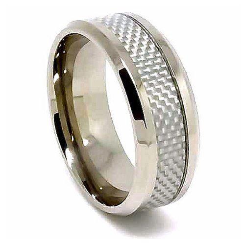 Blue Chip Unlimited 8mm Unisex Titanium White Carbon Fiber Wedding
