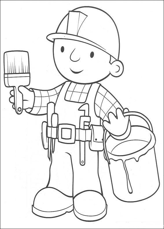 bob the builder preparing to paint - Paint Coloring