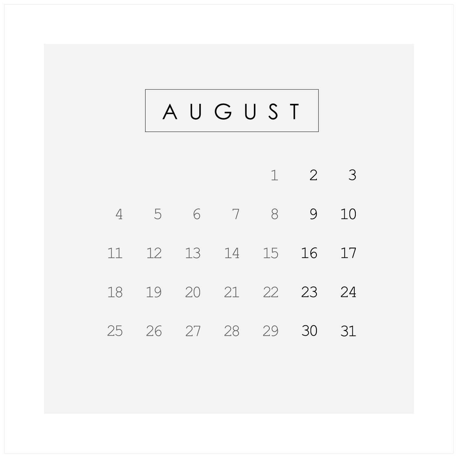 Life As A Moodboard 2014 Calendar Hello August Calendar