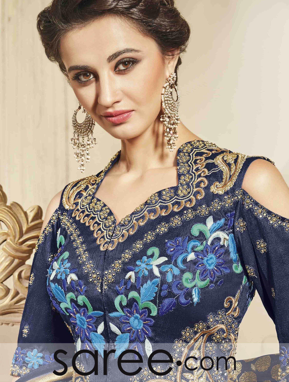 Blue Bangalore Silk Off Shoulder Lehenga Choli With Zari Embroidery Work Off Shoulder Lehenga Lehenga Choli Silk Lehenga