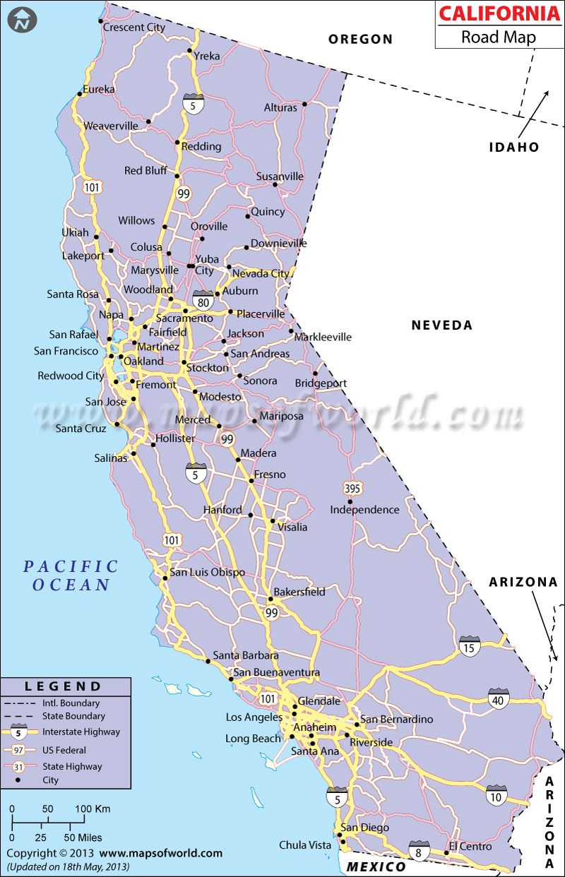 California Road Network Map | California | California map, Map ... on