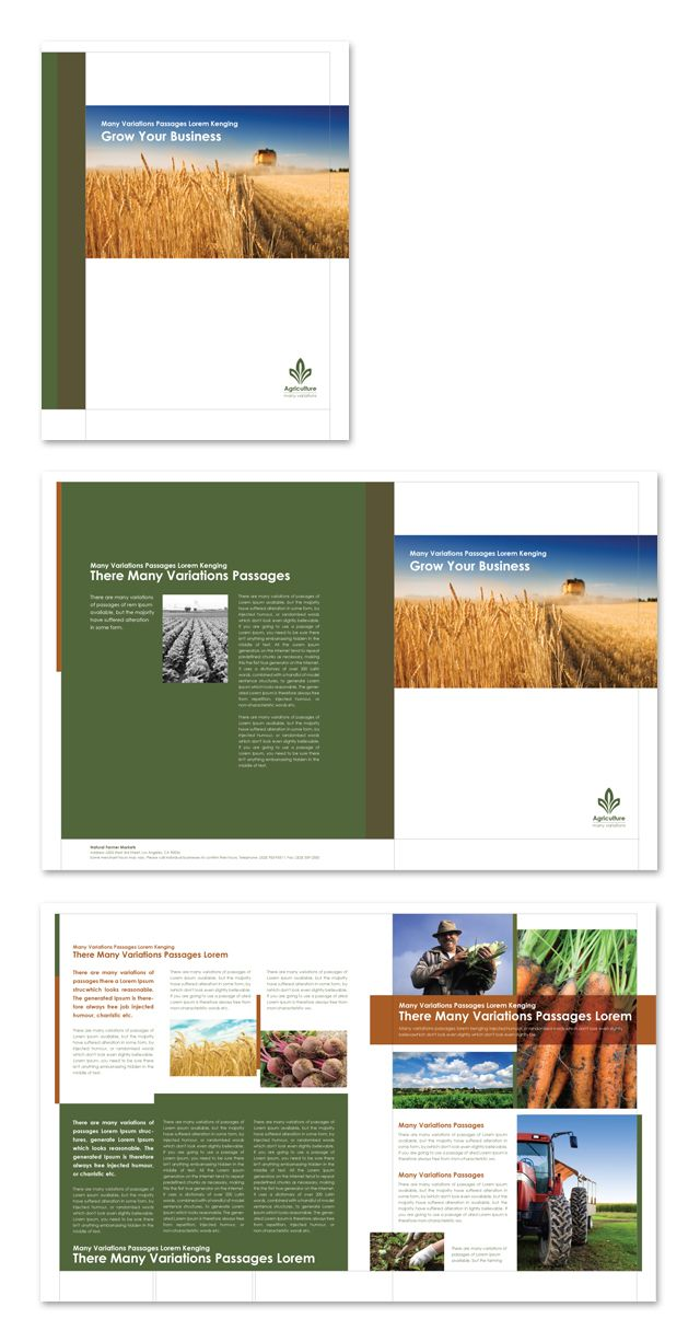 Farming agriculture brochure template http www for Agriculture brochure templates free