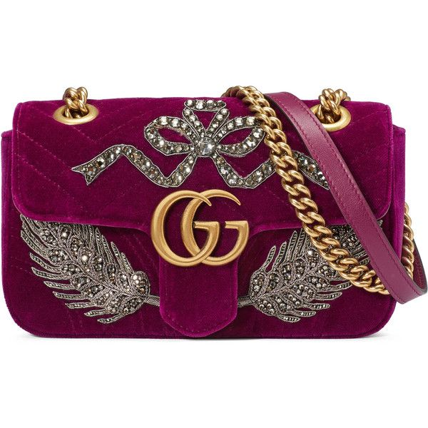 85b07a390bd Gucci Gg Marmont Embroidered Velvet Mini Bag ❤ liked on Polyvore (see more  velvet purses)