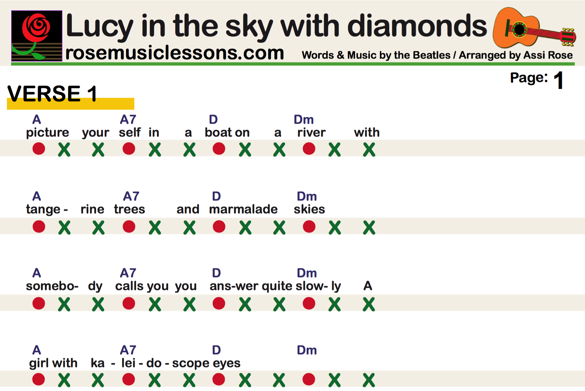 Lucy In The Sky With Diamonds The Beatles Easy Guitar Chords