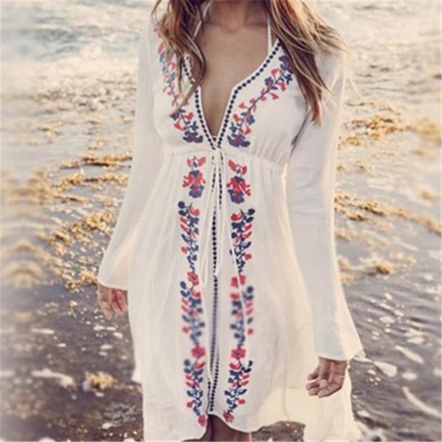 b692b2cd896 New Arrivals Beach Cover up Embroidery Vintage Swimwear Ladies Tunics  Kaftan Beach Dress Beach Wear Women Robe de Plage  Q17