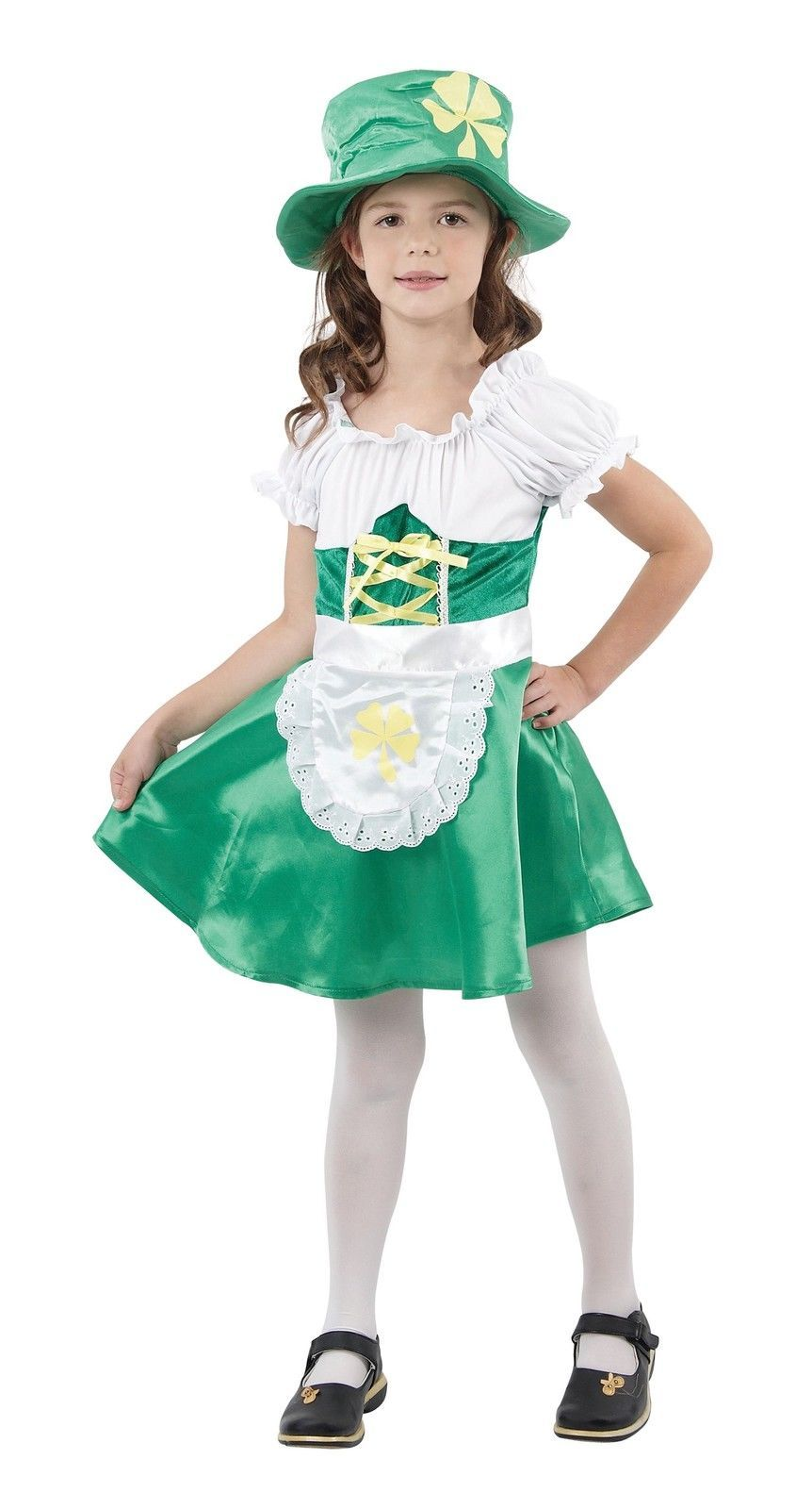 quality childrens girl leprechaun fancydress costume age, 3,4,5,6,7