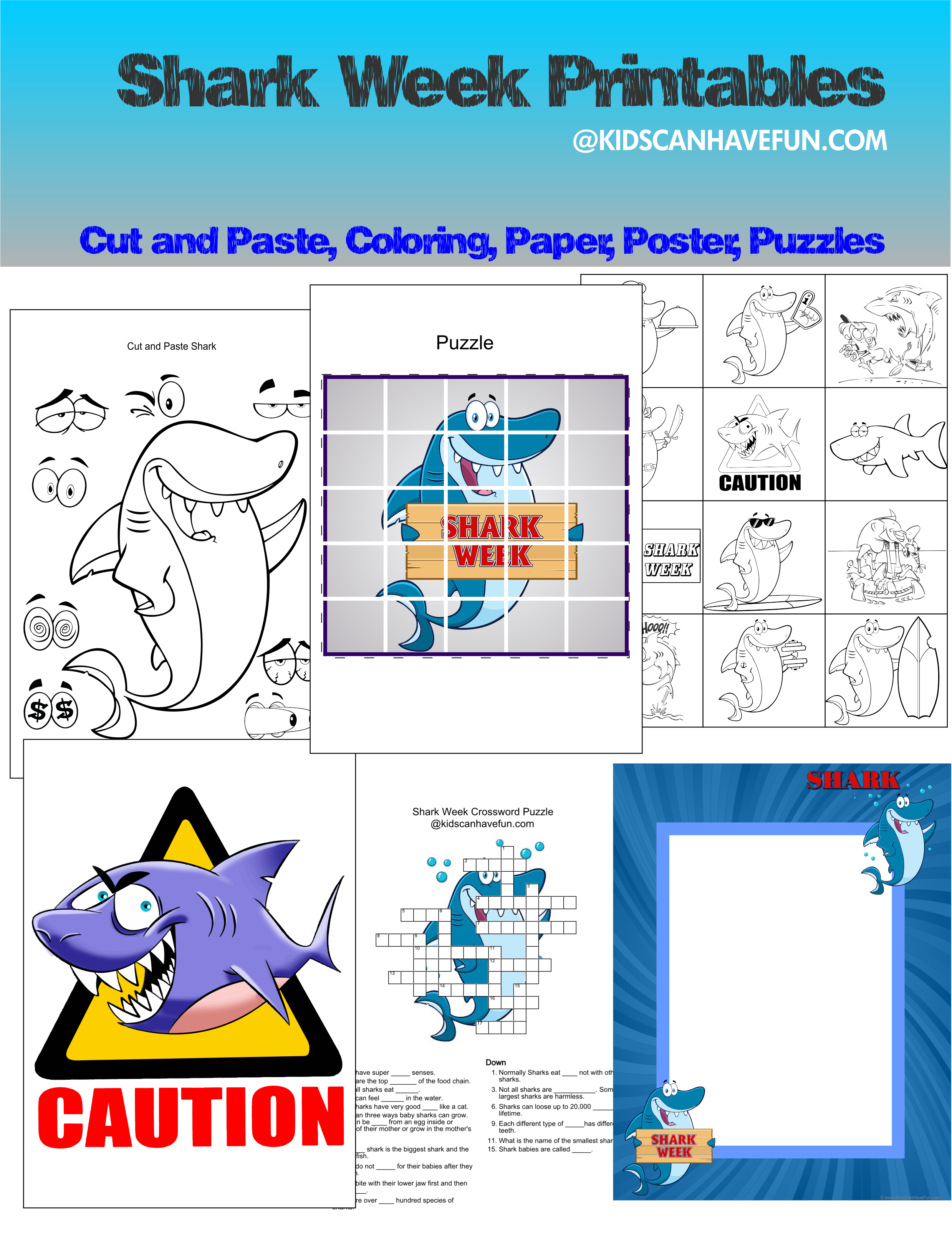 Shark Week For Kids Printables Learn More About Sharks