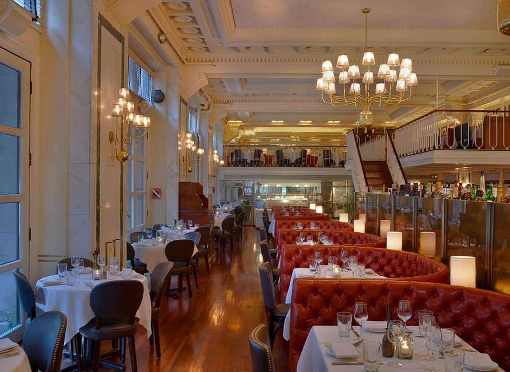 Blue water grill union square premium seafood dishes offered in an elegant former bank - Blue water bar and grill ...