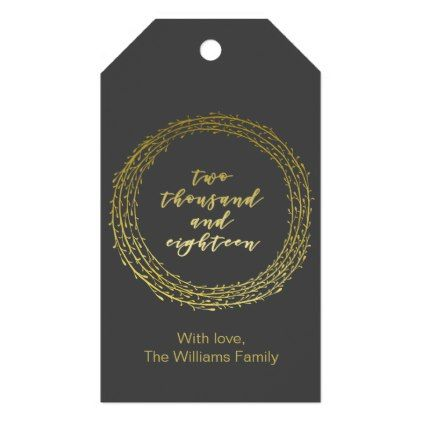 2018 gold script typography wreath personalized gift tags negle Images
