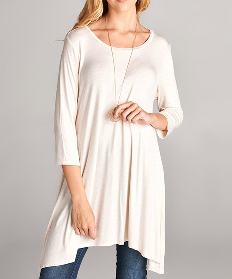 This Off-White Three-Quarter Sleeve Scoop Neck Tunic by Lydiane is perfect! #zulilyfinds