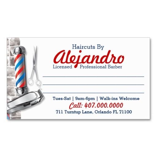 Barber Business Card (Barber pole and shears). I love this design! It is available for customization or ready to buy as is. All you need is to add your business info to this template then place the order. It will ship within 24 hours. Just click the image to make your own!