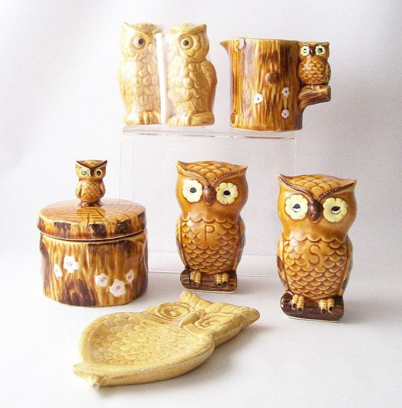 vintage owl figurine collection kitchen kitch by RecycleBuyVintage, $33.00