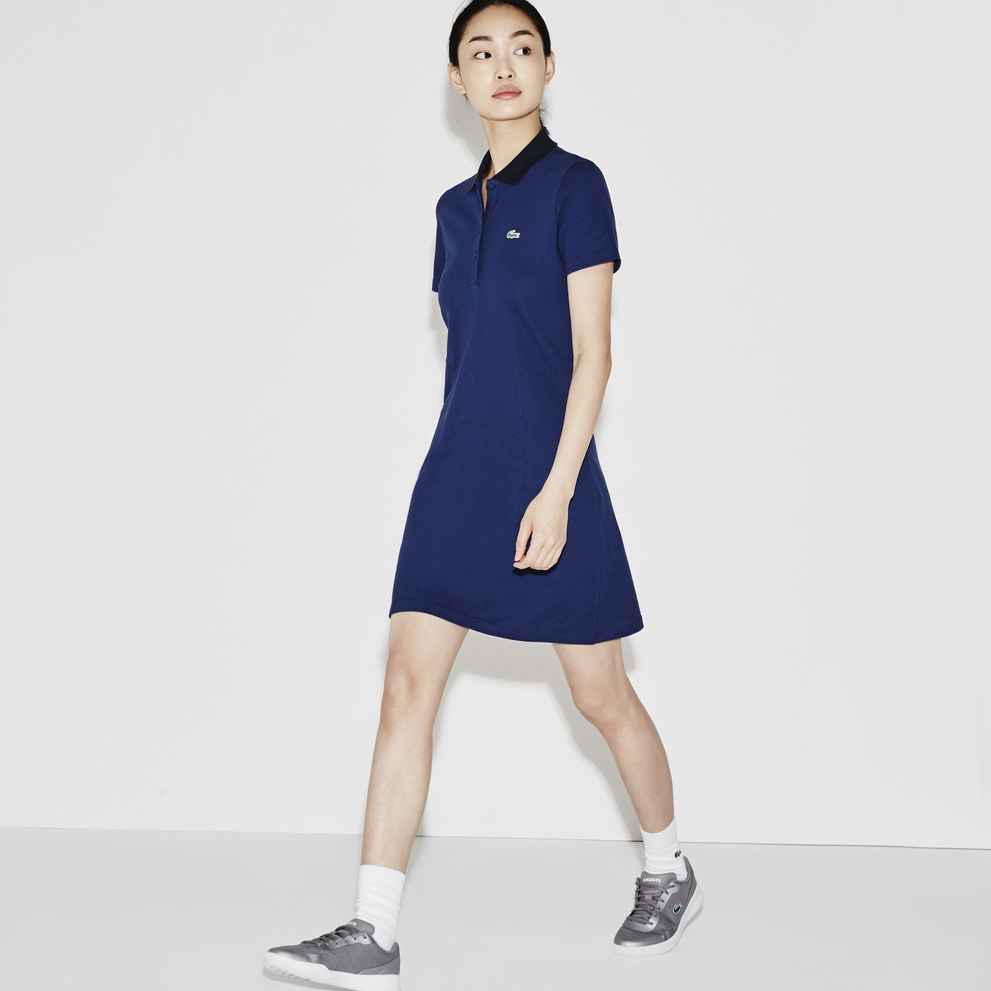 d509473251 LACOSTE Women s SPORT Golf Stretch Mini Piqué Polo Dress - ocean navy blue.   lacoste  cloth