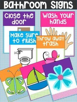 This Set Of Free Printable Bathroom Signs Is Perfect For The Classroom Or For Home I Know Quit Bathroom Printables Bathroom Rules Printable Kids Bathroom Sign