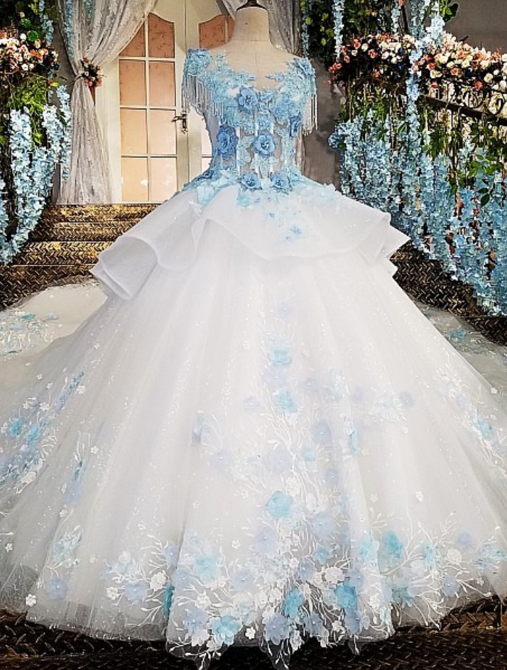 Ivory Wedding Dress With Blue Lace Flowers Online Shop Blue