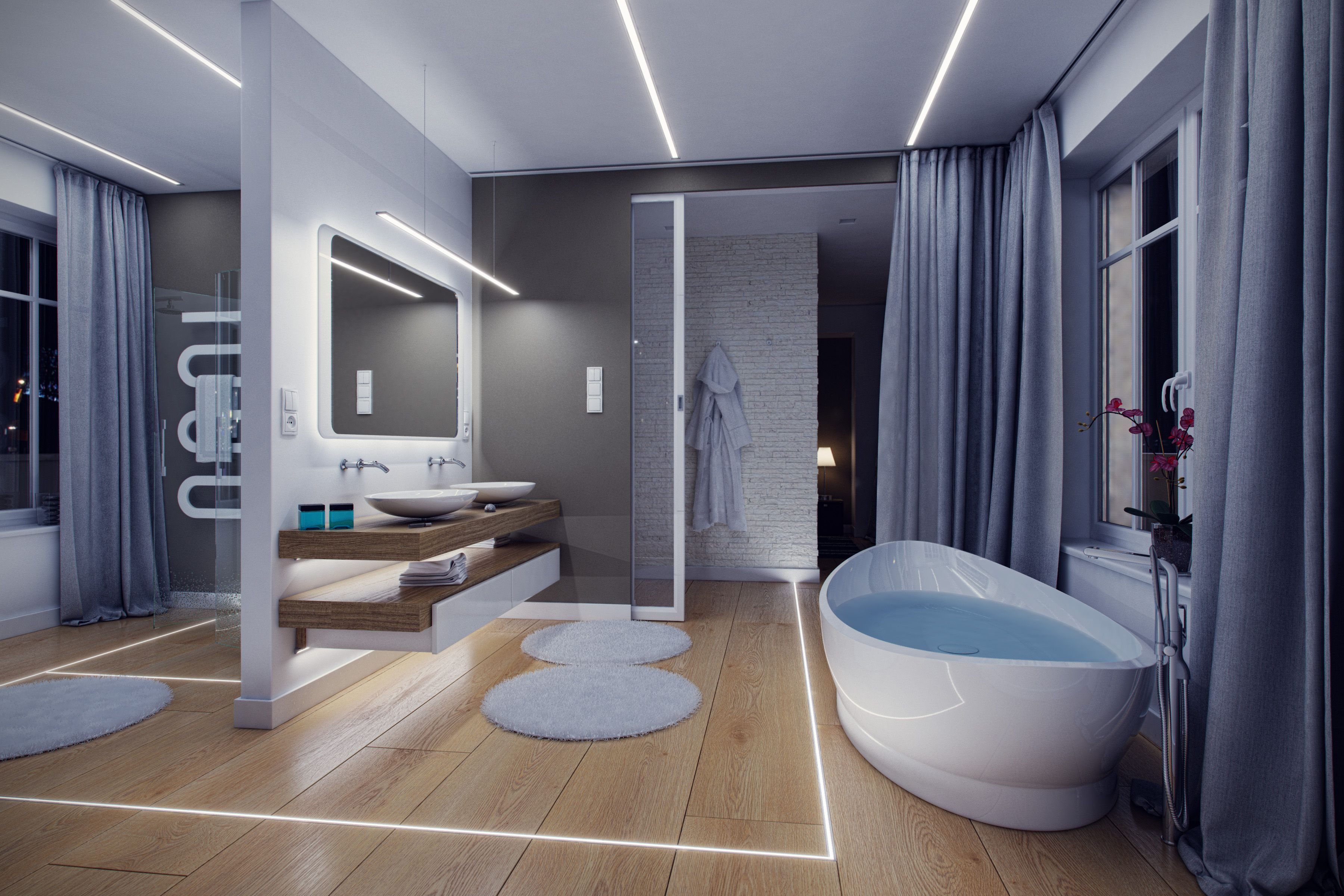 Floor Led Lighting For Bathroom Modern Bathroom Design Idea Profile Terra L Small Bathroom Interior Bathroom Design Mediterranean Bathroom Design Ideas
