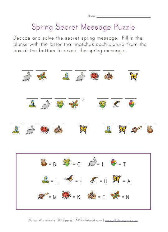 Spring Worksheets For Kids Spring Worksheet Word Puzzles For Kids Worksheets For Kids Decoding worksheets for 1st grade