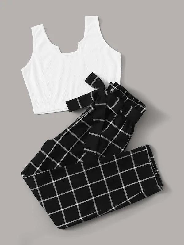 Solid Tank & Plaid Paperbag Waist Belted Pants Set – Kombins