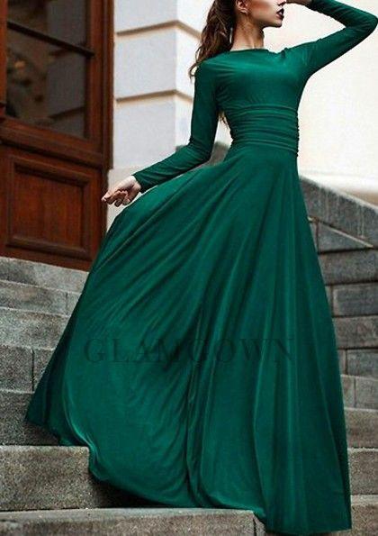 Dark Green Floor Length Long Sleeve Dark Green Prom Dresses Dark Green Prom Dresses Dark Green Bridesmaid Dress Dark Green Prom Dress Long