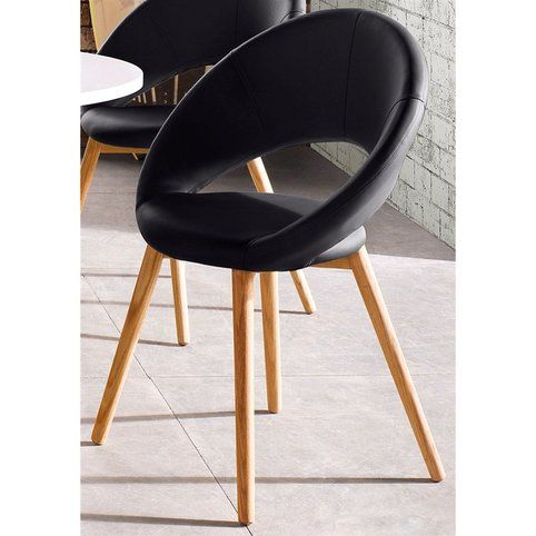 Lot De 2 Chaises Design Scandinave Imitation Cuir Noir Vue 1 Chaise Design Mobilier De Salon Chaise