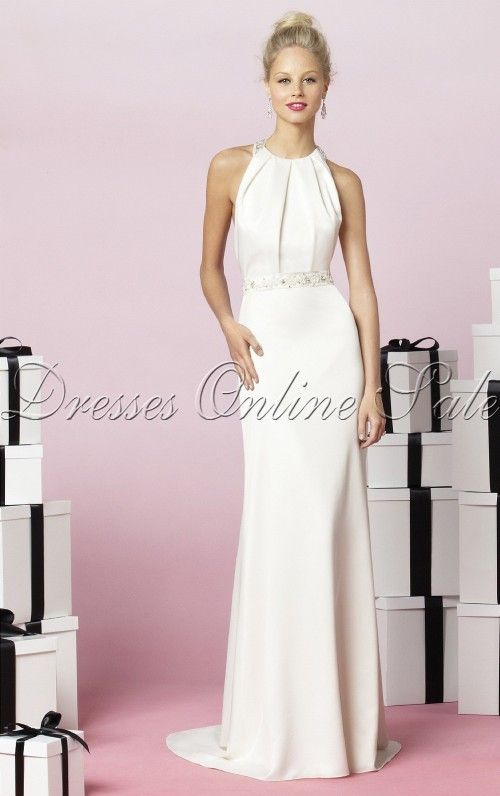 White Sheath Jewel Floor-length Bridesmaid Dress  dc412dc7f974