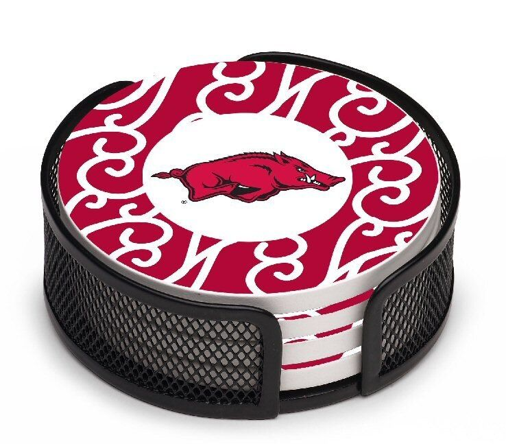 Arkansas Razorbacks Swirls Coasters With Mesh Holders Set Of 10 In 2020 University Of Arkansas Coaster Gift Set Arkansas Razorbacks